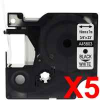 5 x Compatible Dymo D1 Label Tape 19mm Black on White 45803 - 7 metres