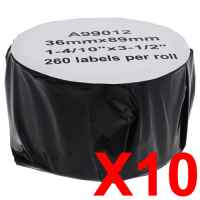 10 x Compatible Dymo LW Address Labels 36mm x 89mm - 260 Labels SD99012