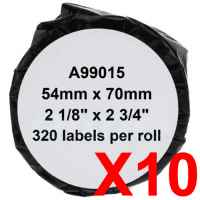 10 x Compatible Dymo LW Multi Purpose Labels 54mm x 70mm - 320 Labels SD99015