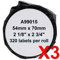 3 x Compatible Dymo LW Multi Purpose Labels 54mm x 70mm - 320 Labels SD99015