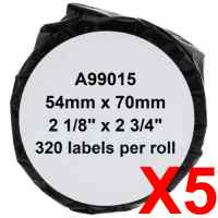 5 x Compatible Dymo LW Multi Purpose Labels 54mm x 70mm - 320 Labels SD99015