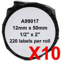 10 x Compatible Dymo LW Suspension File Labels 12mm x 50mm - 220 Labels SD99017