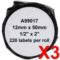 3 x Compatible Dymo LW Suspension File Labels 12mm x 50mm - 220 Labels SD99017