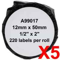 5 x Compatible Dymo LW Suspension File Labels 12mm x 50mm - 220 Labels SD99017
