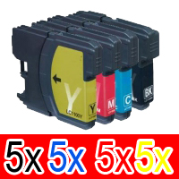 20 Pack Compatible Brother LC-133 Ink Cartridge Set (5BK,5C,5M,5Y)