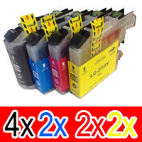 10 Pack Compatible Brother LC-233 Ink Cartridge Set (4BK,2C,2M,2Y)