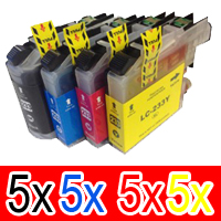 20 Pack Compatible Brother LC-233 Ink Cartridge Set (5BK,5C,5M,5Y)