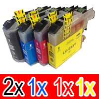 5 Pack Compatible Brother LC-233 Ink Cartridge Set (2BK,1C,1M,1Y)