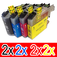 8 Pack Compatible Brother LC-233 Ink Cartridge Set (2BK,2C,2M,2Y)