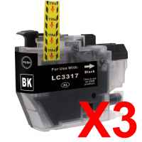3 x Compatible Brother LC-3317 Black Ink Cartridge LC-3317BK