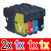 5 Pack Compatible Brother LC-38 Ink Cartridge Set (2BK,1C,1M,1Y)