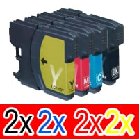 8 Pack Compatible Brother LC-38 Ink Cartridge Set (2BK,2C,2M,2Y)