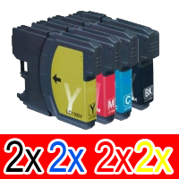 8 Pack Compatible Brother LC-39 Ink Cartridge Set (2BK,2C,2M,2Y)