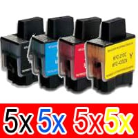 20 Pack Compatible Brother LC-47 Ink Cartridge Set (5BK,5C,5M,5Y)