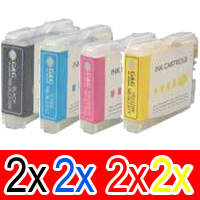 8 Pack Compatible Brother LC-57 Ink Cartridge Set (2BK,2C,2M,2Y)