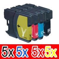 20 Pack Compatible Brother LC-67 Ink Cartridge Set (5BK,5C,5M,5Y)