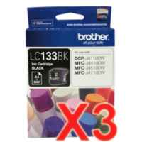 3 x Genuine Brother LC-133 Black Ink Cartridge LC-133BK
