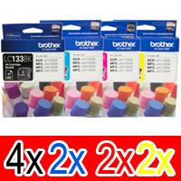 10 Pack Genuine Brother LC-133 Ink Cartridge Set (4BK,2C,2M,2Y)