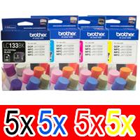 20 Pack Genuine Brother LC-133 Ink Cartridge Set (5BK,5C,5M,5Y)