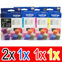 5 Pack Genuine Brother LC-133 Ink Cartridge Set (2BK,1C,1M,1Y)