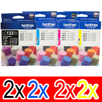 8 Pack Genuine Brother LC-133 Ink Cartridge Set (2BK,2C,2M,2Y)