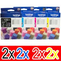 8 Pack Genuine Brother LC-133 Ink Cartridge Set (2BK,2C,2M,2Y)