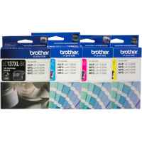 4 Pack Genuine Brother LC-137XL LC-135XL Ink Cartridge Set (1BK,1C,1M,1Y)