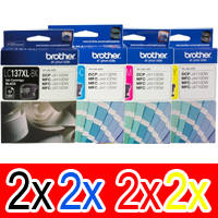 8 Pack Genuine Brother LC-137XL LC-135XL Ink Cartridge Set (2BK,2C,2M,2Y)
