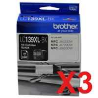 3 x Genuine Brother LC-139XL Black Ink Cartridge LC-139XLBK