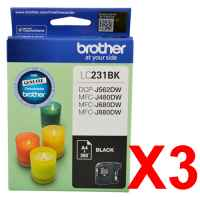 3 x Genuine Brother LC-231 Black Ink Cartridge LC-231BK