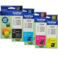 4 Pack Genuine Brother LC-231 Ink Cartridge Set (1BK,1C,1M,1Y)