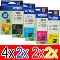 10 Pack Genuine Brother LC-231 Ink Cartridge Set (4BK,2C,2M,2Y)