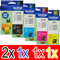 5 Pack Genuine Brother LC-231 Ink Cartridge Set (2BK,1C,1M,1Y)