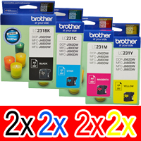 8 Pack Genuine Brother LC-231 Ink Cartridge Set (2BK,2C,2M,2Y)