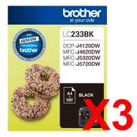 3 x Genuine Brother LC-233 Black Ink Cartridge LC-233BK