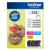 1 x Genuine Brother LC-233 C/M/Y Ink Cartridge Colour Pack LC-233CL3PK