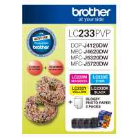 1 x Genuine Brother LC-233 B/C/M/Y Ink Cartridge Photo Value Pack LC-233PVP