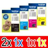 5 Pack Genuine Brother LC-233 Ink Cartridge Set (2BK,1C,1M,1Y)