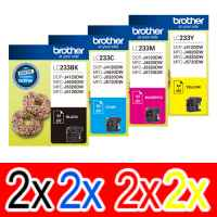 8 Pack Genuine Brother LC-233 Ink Cartridge Set (2BK,2C,2M,2Y)