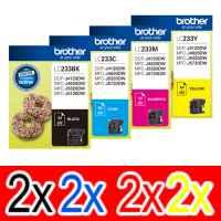 8 Pack Genuine Brother LC-233 Ink Cartridge Set (2BK,2C,2M,2Y)