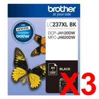 3 x Genuine Brother LC-237XL Black Ink Cartridge LC-237XLBK