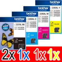 5 Pack Genuine Brother LC-237XL LC-235XL Ink Cartridge Set (2BK,1C,1M,1Y)