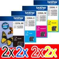 8 Pack Genuine Brother LC-237XL LC-235XL Ink Cartridge Set (2BK,2C,2M,2Y)