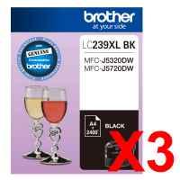 3 x Genuine Brother LC-239XL Black Ink Cartridge LC-239XLBK