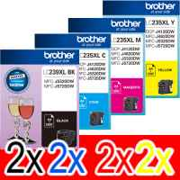 8 Pack Genuine Brother LC-239XL LC-235XL Ink Cartridge Set (2BK,2C,2M,2Y)