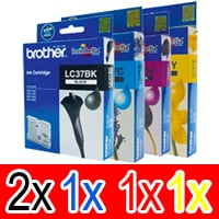 5 Pack Genuine Brother LC-37 Ink Cartridge Set (2BK,1C,1M,1Y)