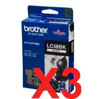3 x Genuine Brother LC-38 Black Ink Cartridge LC-38BK
