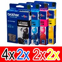 10 Pack Genuine Brother LC-38 Ink Cartridge Set (4BK,2C,2M,2Y)