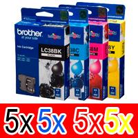 20 Pack Genuine Brother LC-38 Ink Cartridge Set (5BK,5C,5M,5Y)