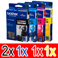 5 Pack Genuine Brother LC-38 Ink Cartridge Set (2BK,1C,1M,1Y)